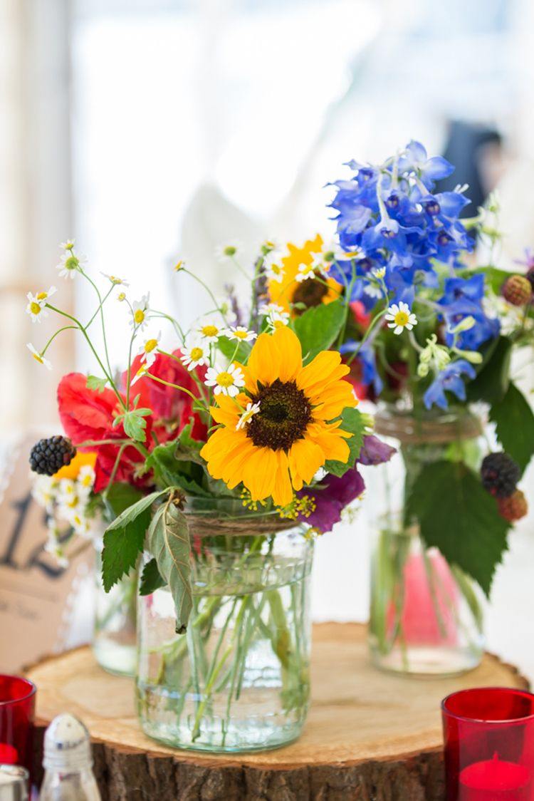 Country Farm Festival Yellow Blue Wedding Flowers Pinterest