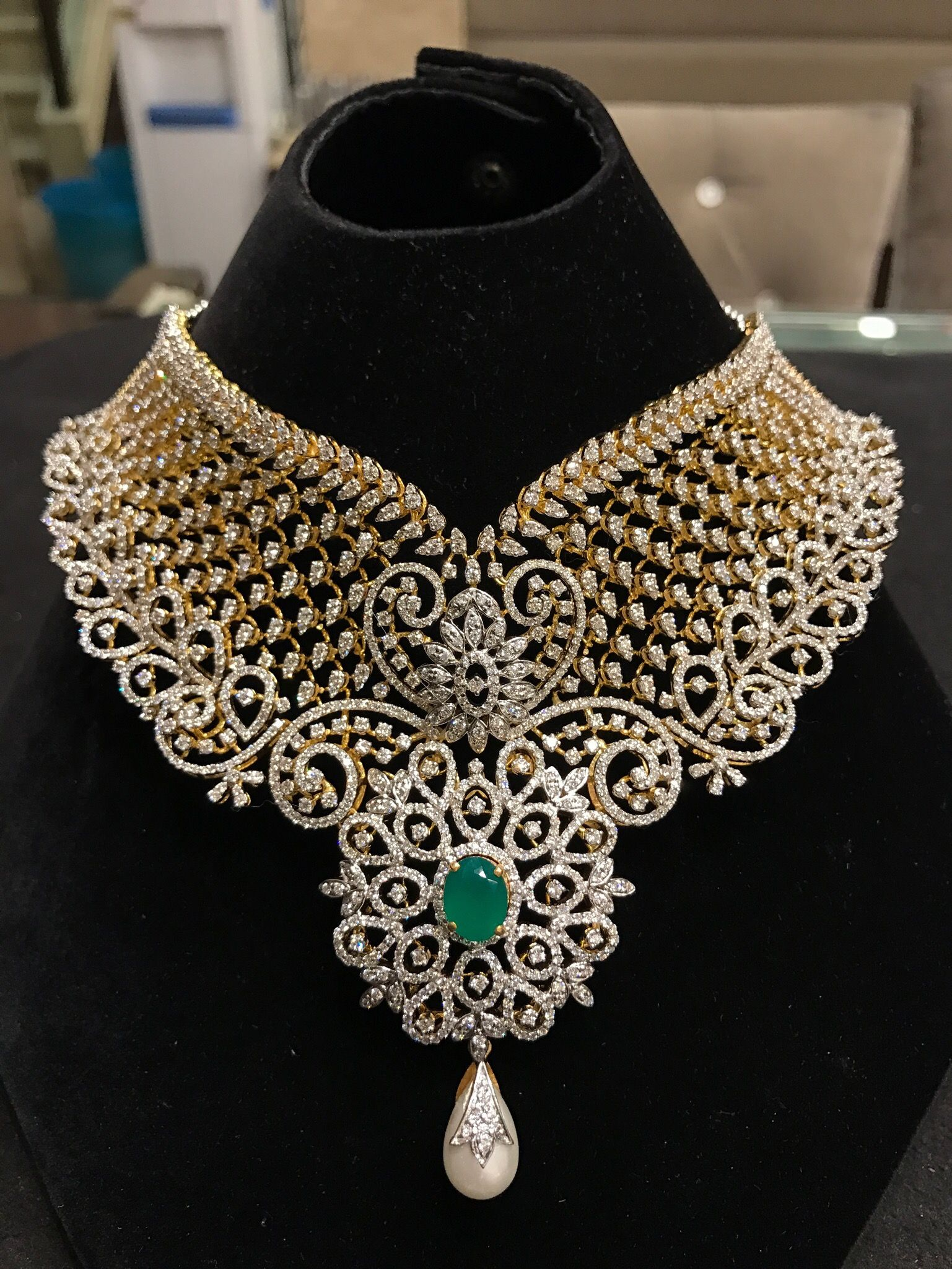 Jewellery Designs Most Elegant Diamond Choker and Long Set
