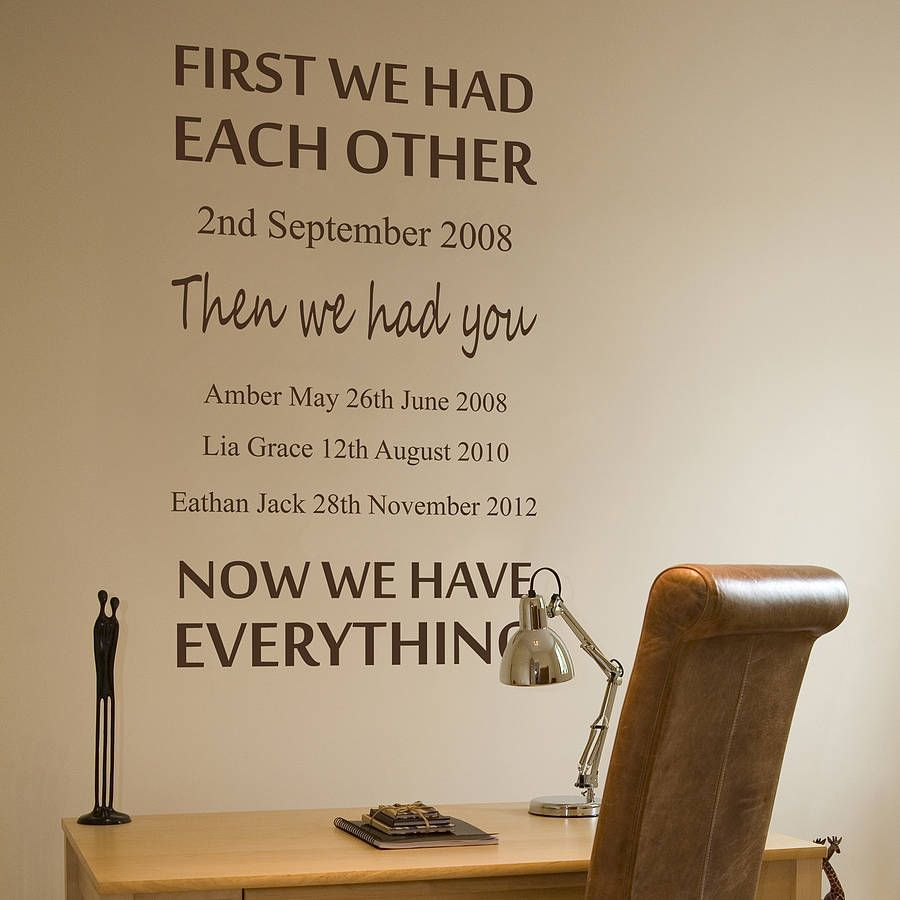 Personalised We Had Each Other Wall Sticker New House Stuff
