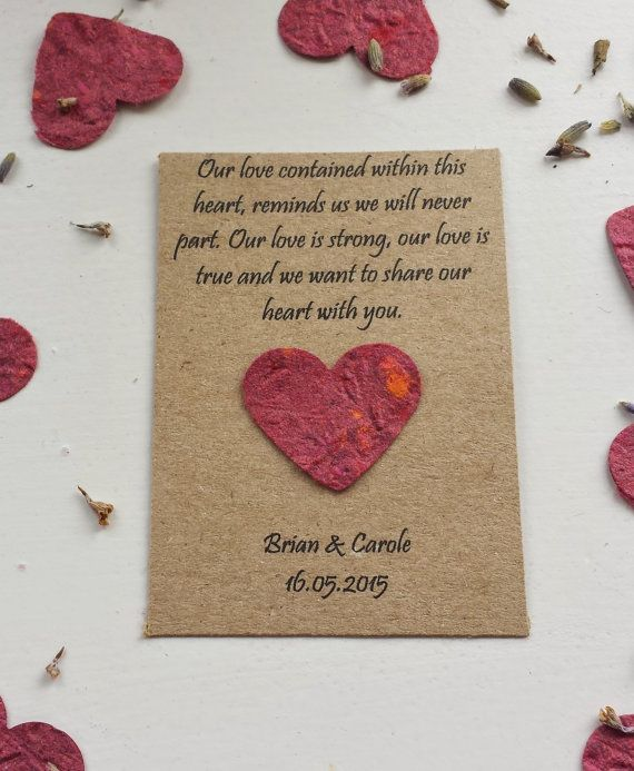 Wedding Favour Seeded Paper Wildflower Seed Pouch Poem With