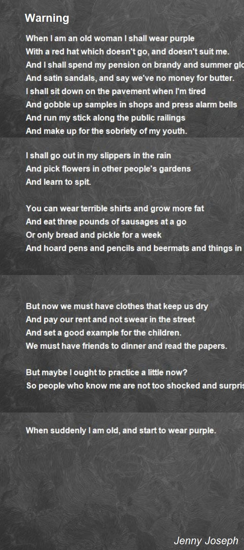 Warning Poem By Jenny Joseph Poem Hunter Jenny Joseph Poems