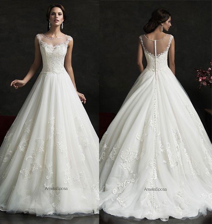 2016 Weiß Spitze Ballkleid Abendkleid Hochzeitskleid Brautkleid 32 ...