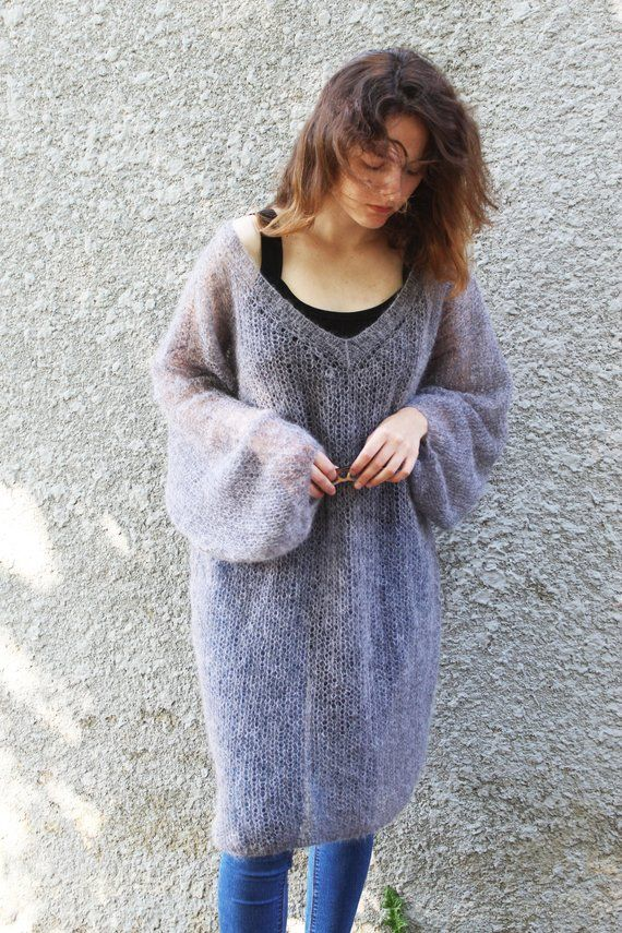 Long Mohair Sweater Dress Plus Size Loose Knit Maxi Sweater Jumper