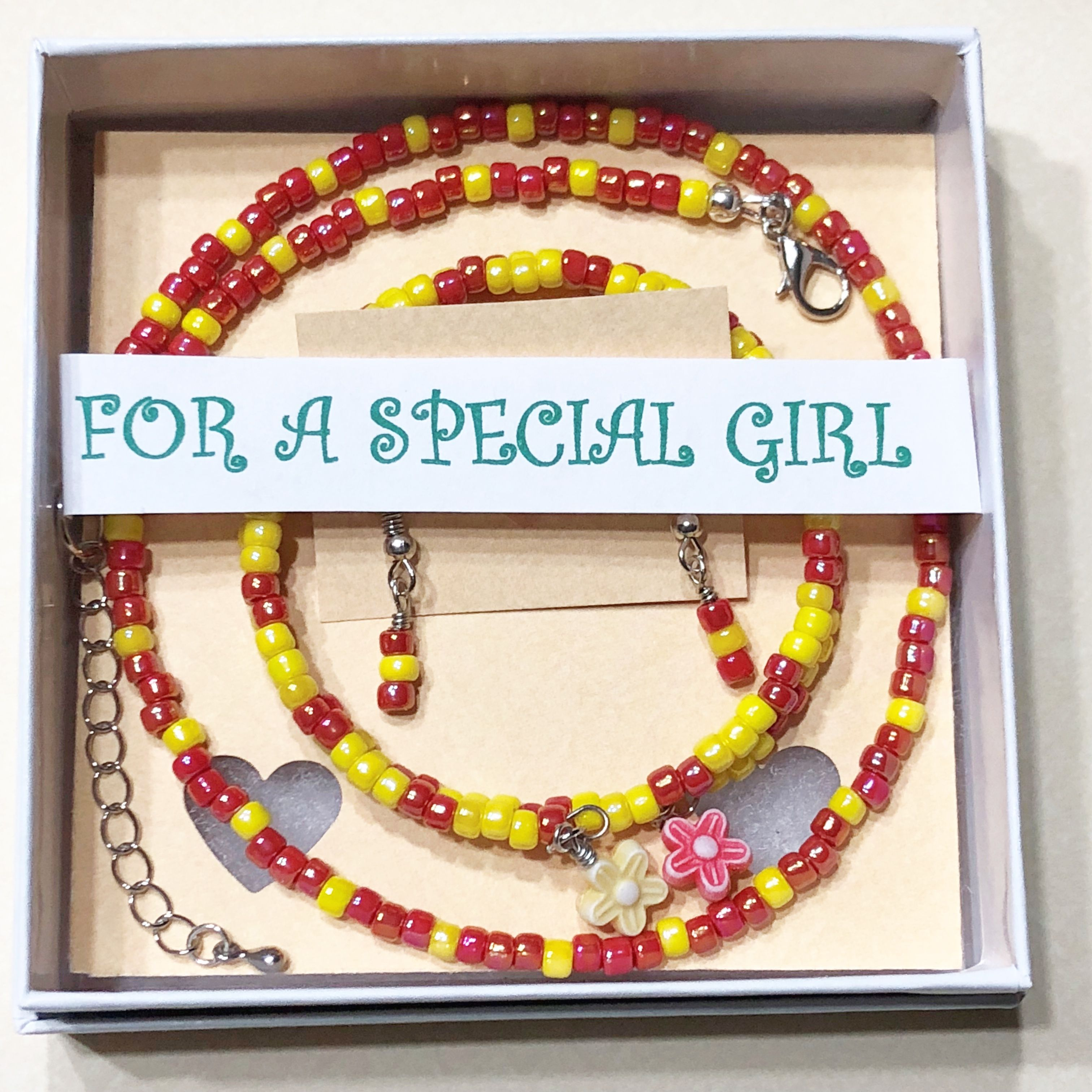 Girls piece jewelry set girls red and yellow necklace set girls