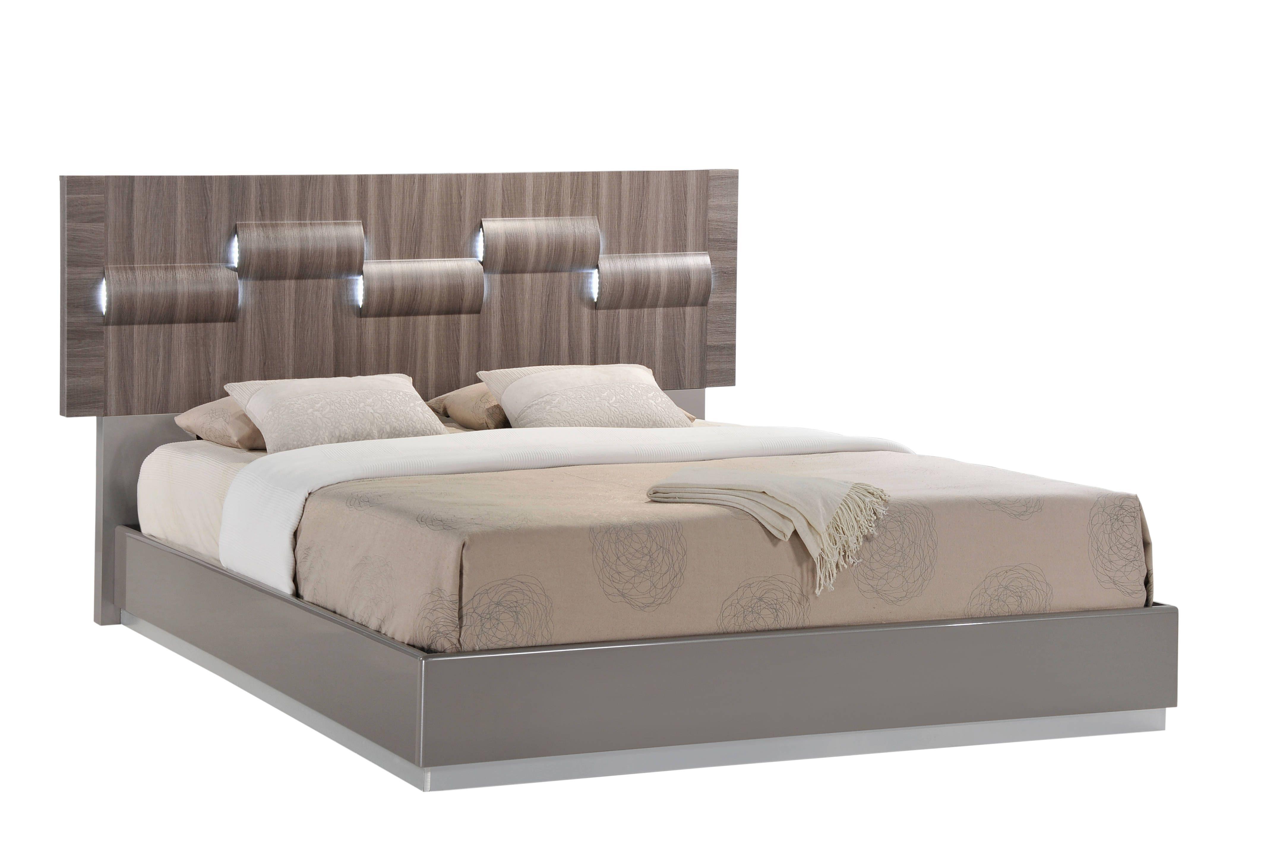 Global furniture adel grey high gloss queen bed high gloss queen