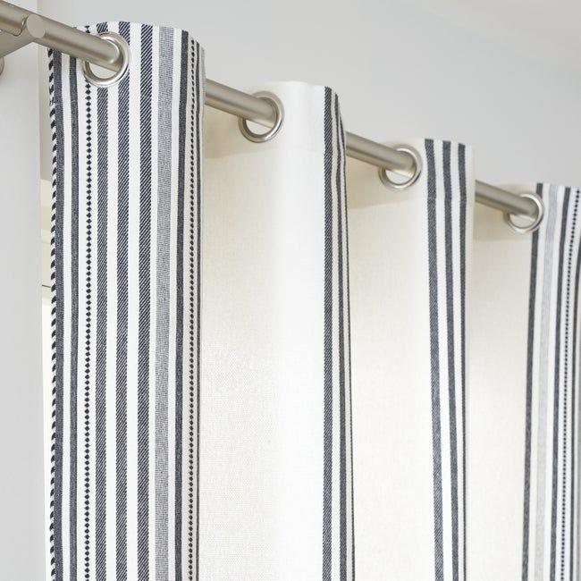 Rideau Coton Leandro Blanc Noir L 140 X H 260 Cm Inspire Rideaux Blanc Et Rideaux Voilages
