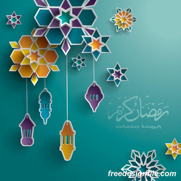 Ramadan Hintergrund Mit Farbigem Dekor Vektor With Images