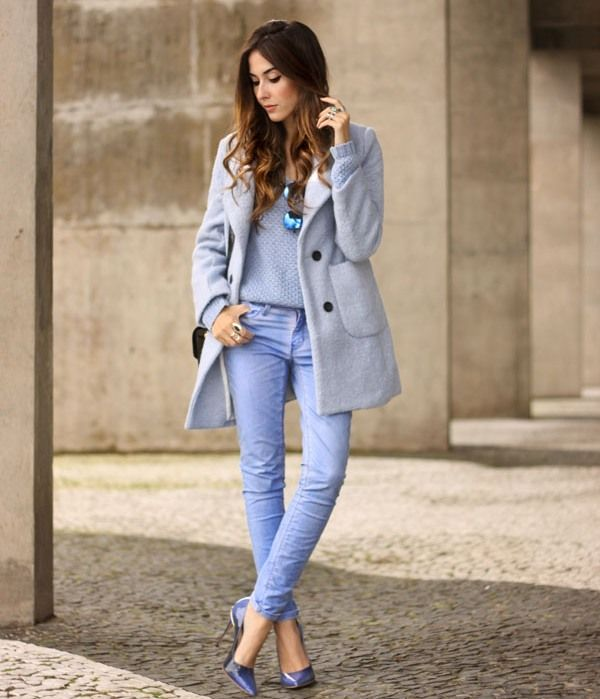 monochromatic blue 2017 outfit with mercury sunglasses
