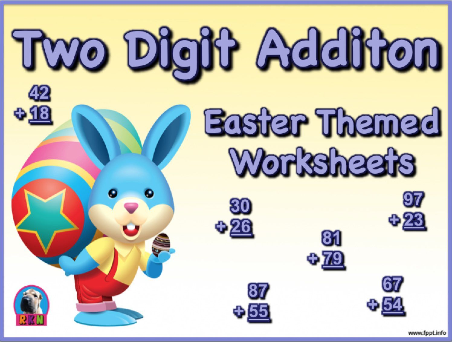Two Digit Addition Easter Themed Worksheets Vertical Math