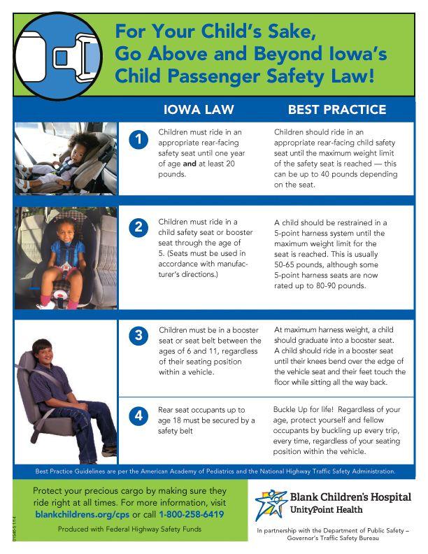 Iowa Child Passenger Safety Law Blank Children's