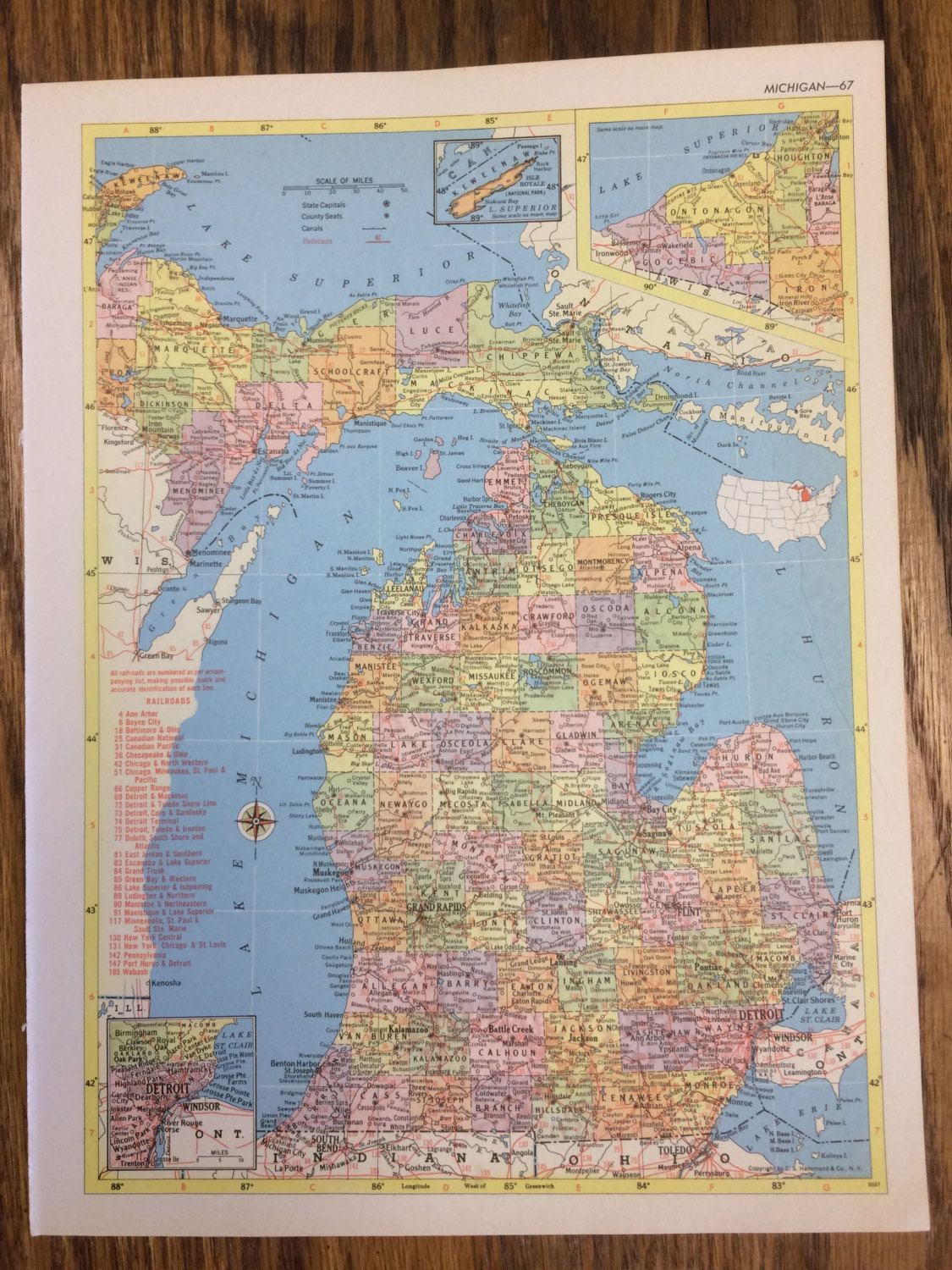 1955 Michigan or Minnesota Large Map