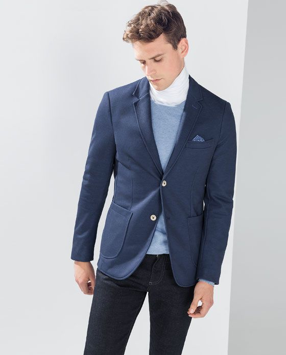 d47860d2 ZARA - MAN - PIQUÉ BLAZER WITH ELBOW PATCHES | Men Blazers | Blazers ...