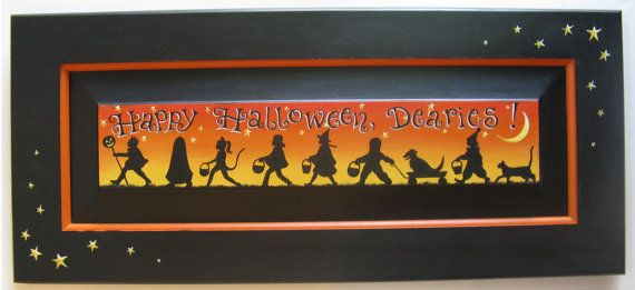 Happy Halloween Dearies Sign, Original by Carolee Clark