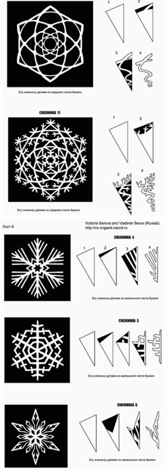 Tutorial para hacer bellos copos de nieve, de papel. Con Plantillas ...