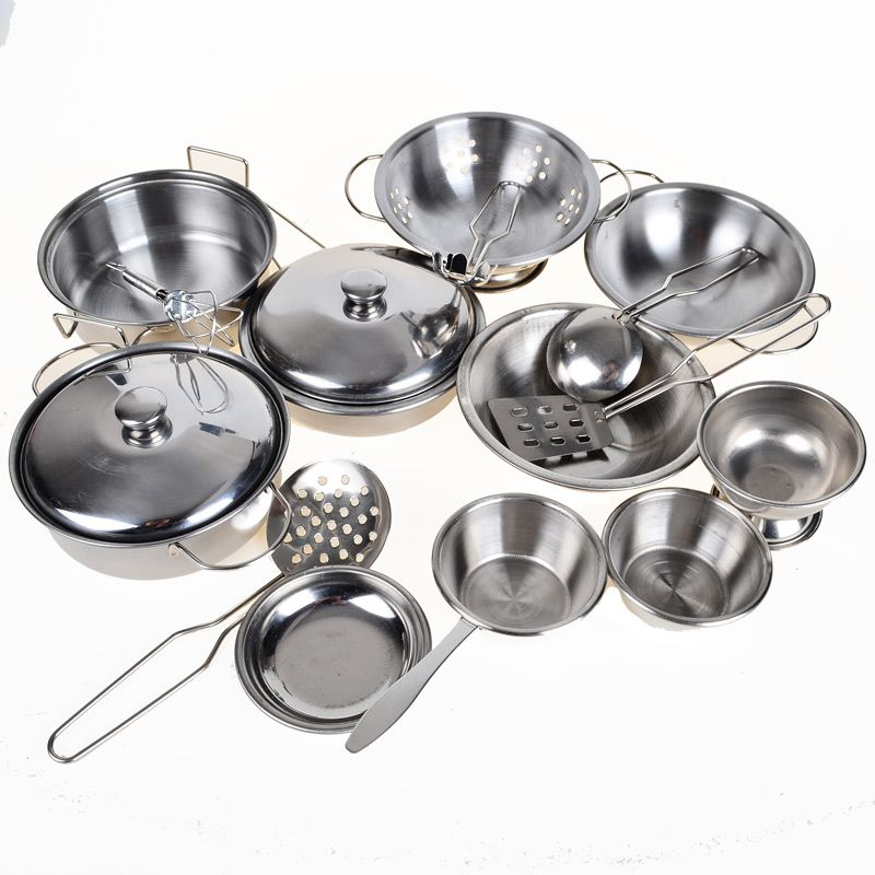30 Off Stainless Steel Pots And Pans Pretend Play Toy Kitchen Set For Kids 16pcs Cookware Miniature Toys Children