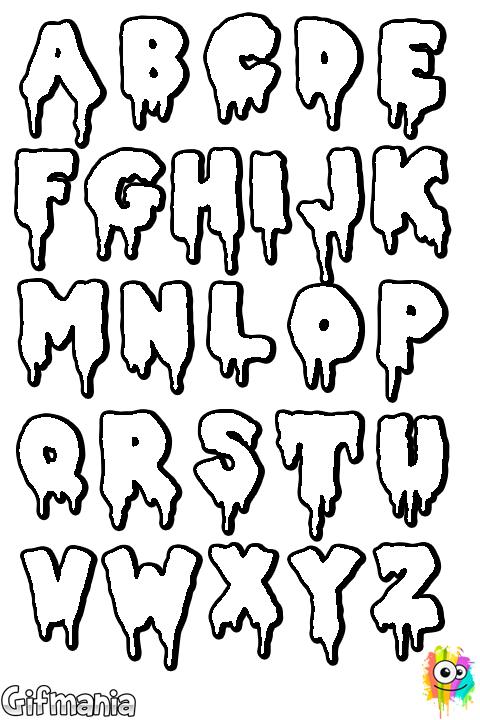 Dibujo de Letras de terror para Colorear | abecedario de terror