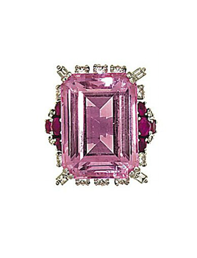 A pink beryl, ruby and diamond ring, by Gübelin  The step-cut pink beryl (morganite) in a brilliant and baguette-cut diamond surround, to circular-cut ruby shoulders, finger size P Maker's mark