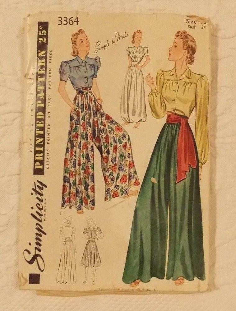 "Hip 36/"" Vintage 1940/'s Sewing Pattern Women/'s Wide Leg Slacks Trousers"
