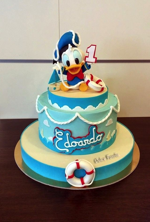 Cool Cute Baby Donald Duck 1St Birthday Cake Pastel De Pato Donald Funny Birthday Cards Online Elaedamsfinfo