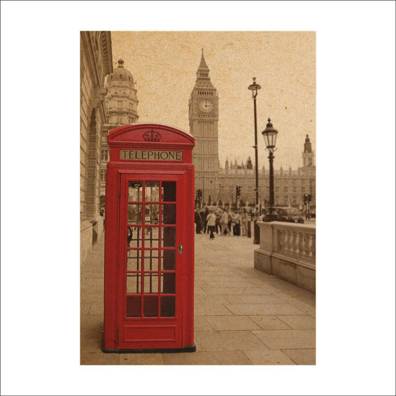 Click to Buy << Vintage Big Ben phone booth retro paper posters wall ...