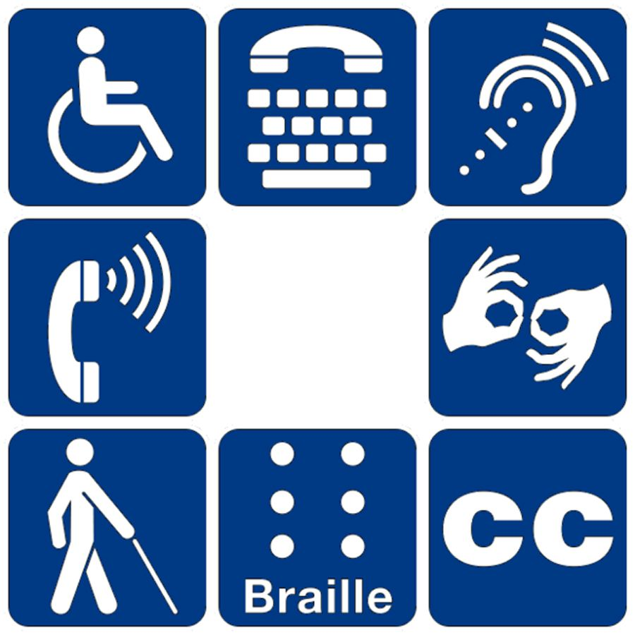 Here are different kinds of pictures describing a disability for title image symbols of accessibility for mobility disabilities access for hearing loss sign language interpretation braille and more biocorpaavc