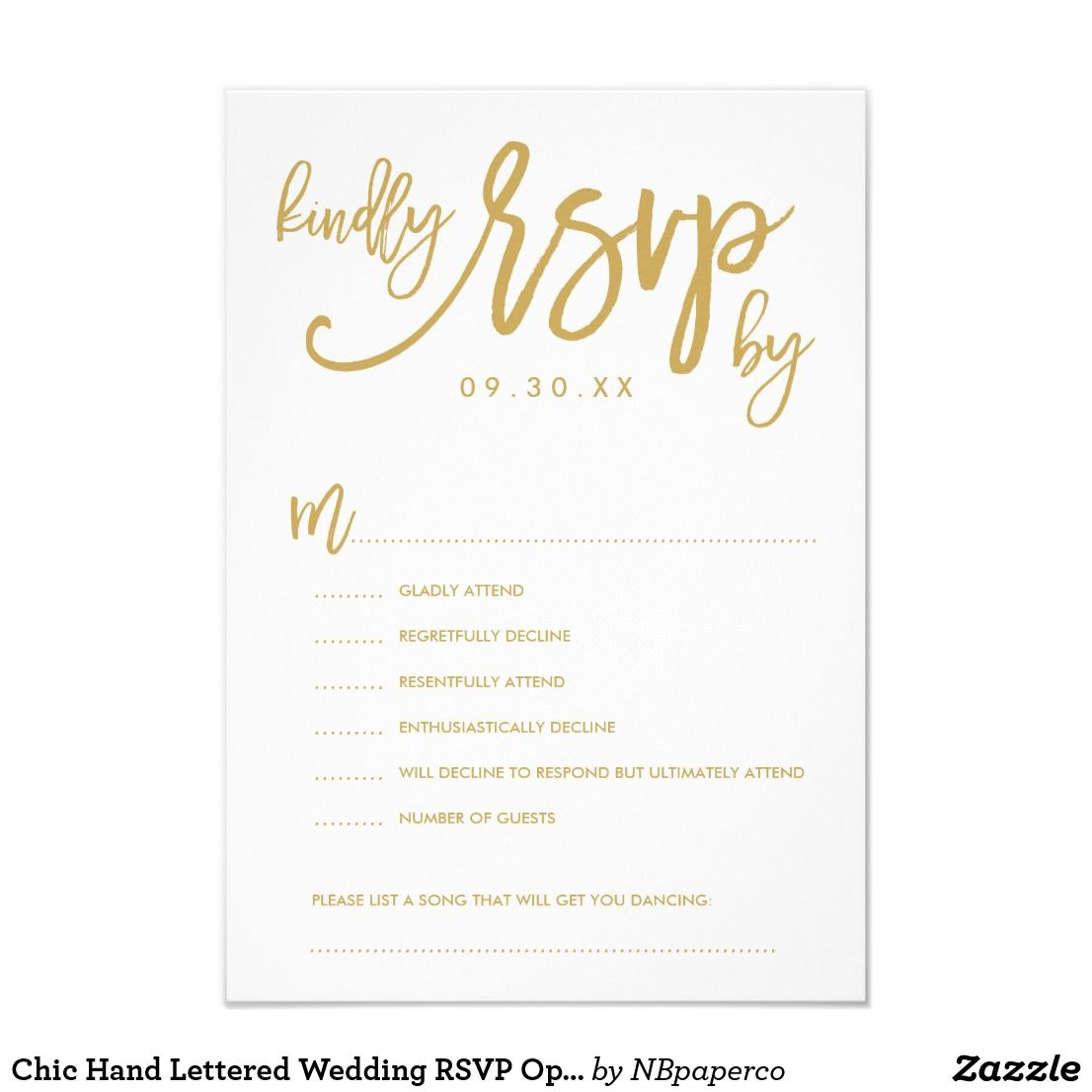 Chic hand lettered wedding rsvp options card thank you cards chic hand lettered wedding rsvp options card stopboris Images