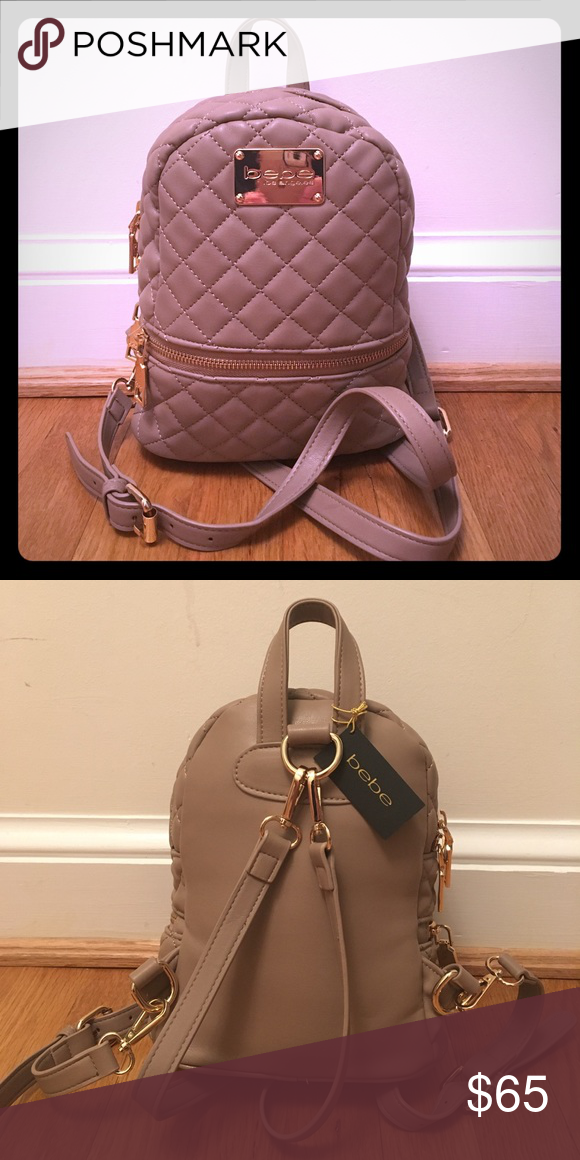 7b37f90795e Adorable Bebe Los Angeles mini taupe quilted backpack! A stylish bag that  is the perfect size and very convenient for travel, leisure, ...