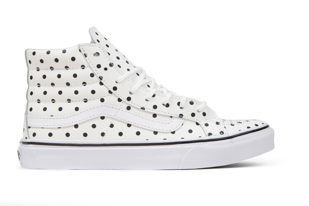 The Leather Polka Dots Sk8-Hi Slim, a slimmed down version of the legendary