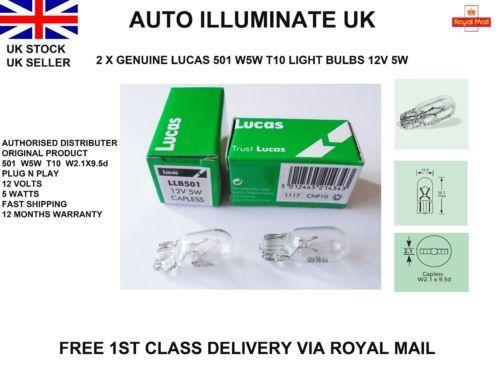 50 Genuine Lucas Capless wedge Bulbs LLB501 12v 5W Side Light Number Plate Bulb