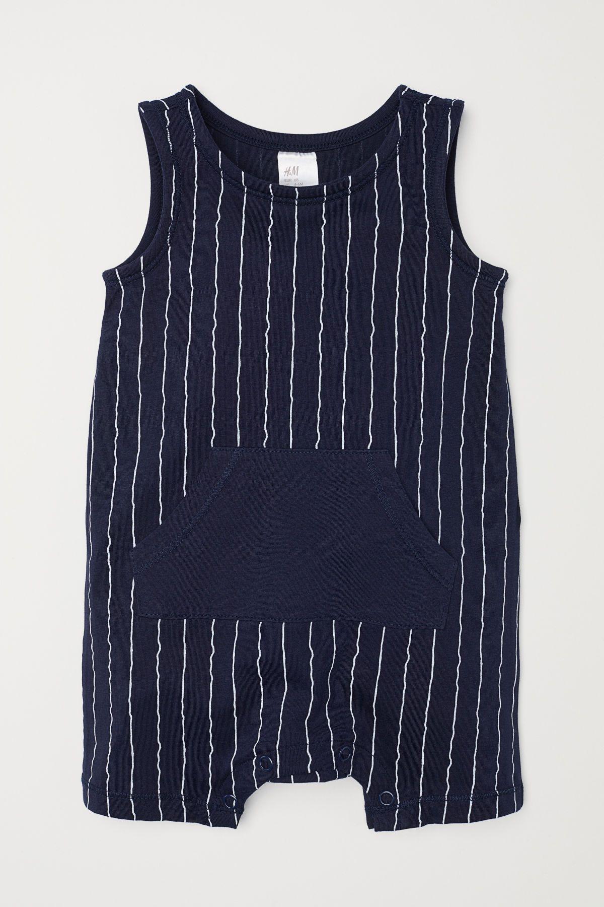 Organic Cotton Jersey Romper in Blue