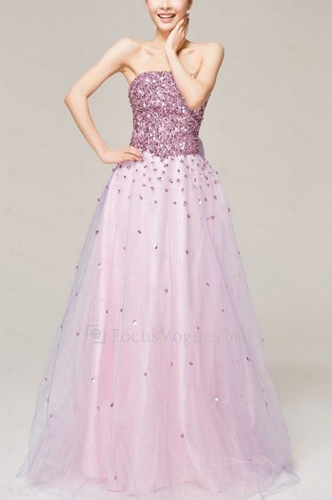 Satin Strapless Floor Length A-line Evening Dress with Sequins - Focus Vogue