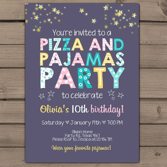 Pizza and pajamas party invitation pizza pajamas birthday invite pizza and pajamas party invitation pizza pajamas birthday invite girl party purple pink mint yellow photo digital printable any age stopboris Image collections