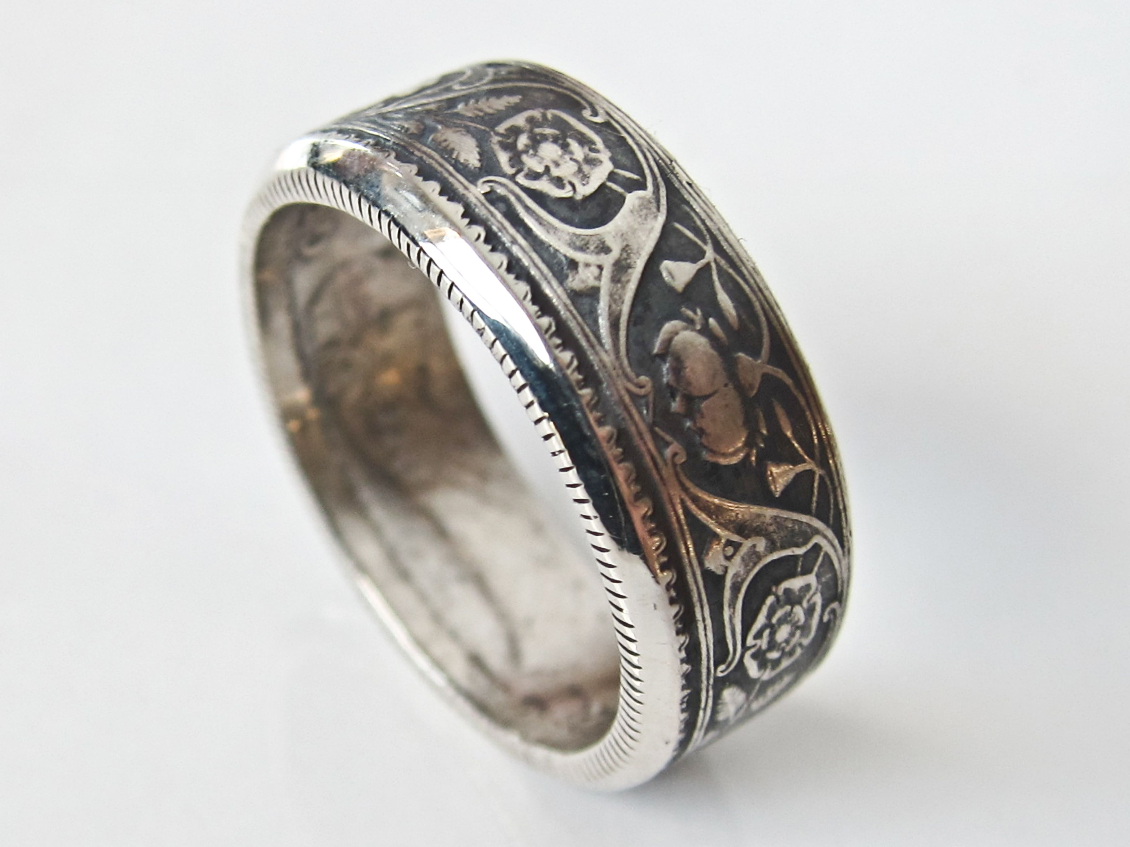 1936 Silver British India Half Rupee Coin Ring. George V Design. Two sided.  Hand made by me. Osheacoinrings.com