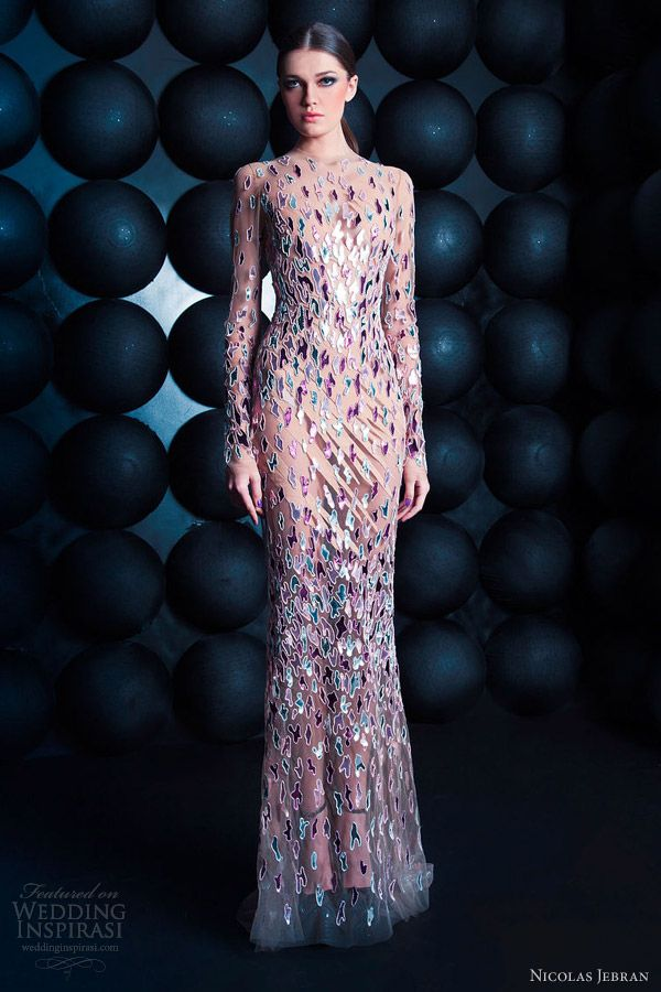 nicolas jebran spring summer 2013 couture long sleeve gown color