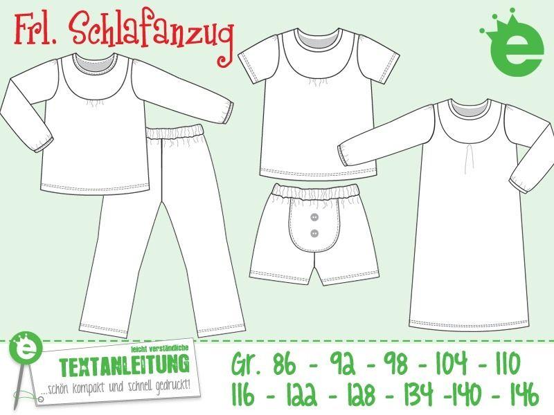 Frl. Schlafanzug Gr. 86-146 Die Erbsenprinzessin | Schnitte ...