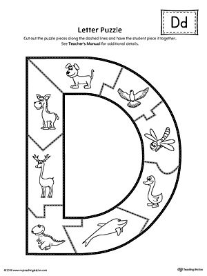 letter d puzzle printable student alphabet letters and the shape. Black Bedroom Furniture Sets. Home Design Ideas