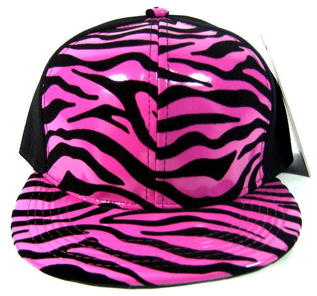 Hot Pink Zebra Snapback Flat Bill Hat  956a12e9d93