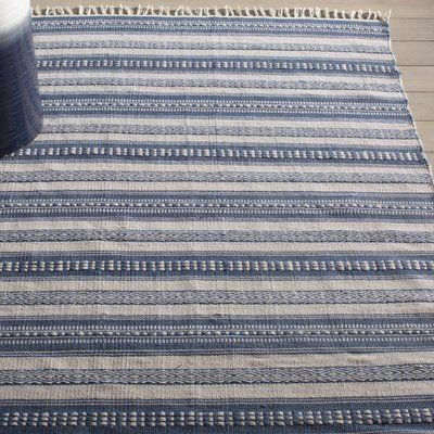 Bungalow Rose Avaline Striped Hand Woven Blue White Indoor Outdoor