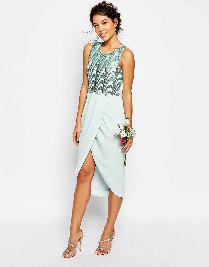 f301548f TFNC | TFNC WEDDING Sequin Midi Dress with Open Back at ASOS ...