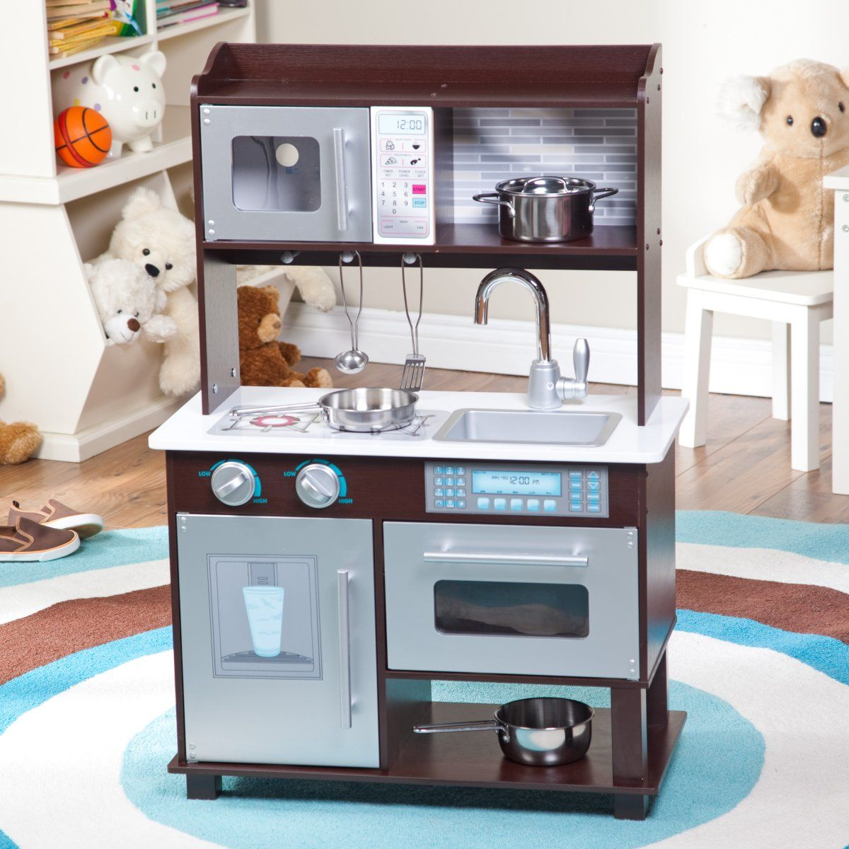 KidKraft Espresso Toddler Play Kitchen with 11 pc. Food ...
