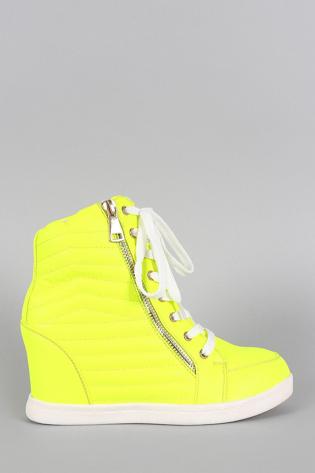 6891c6ec18c9 Liliana Neon Quilted High Top Wedge Sneaker