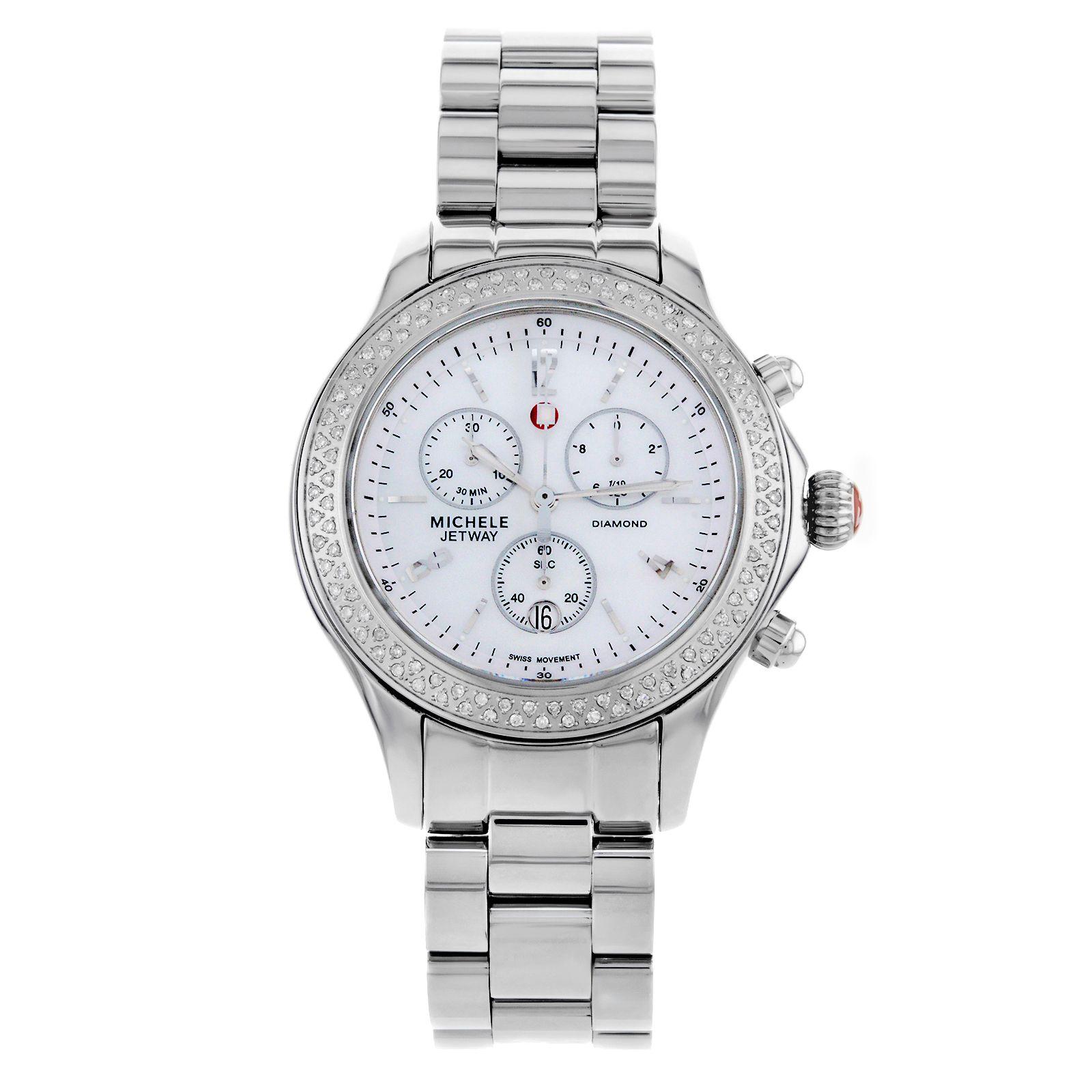 AUCTION Michele Jetway Classic MWW17C000007 Steel & Diamonds Quartz Ladies Watch