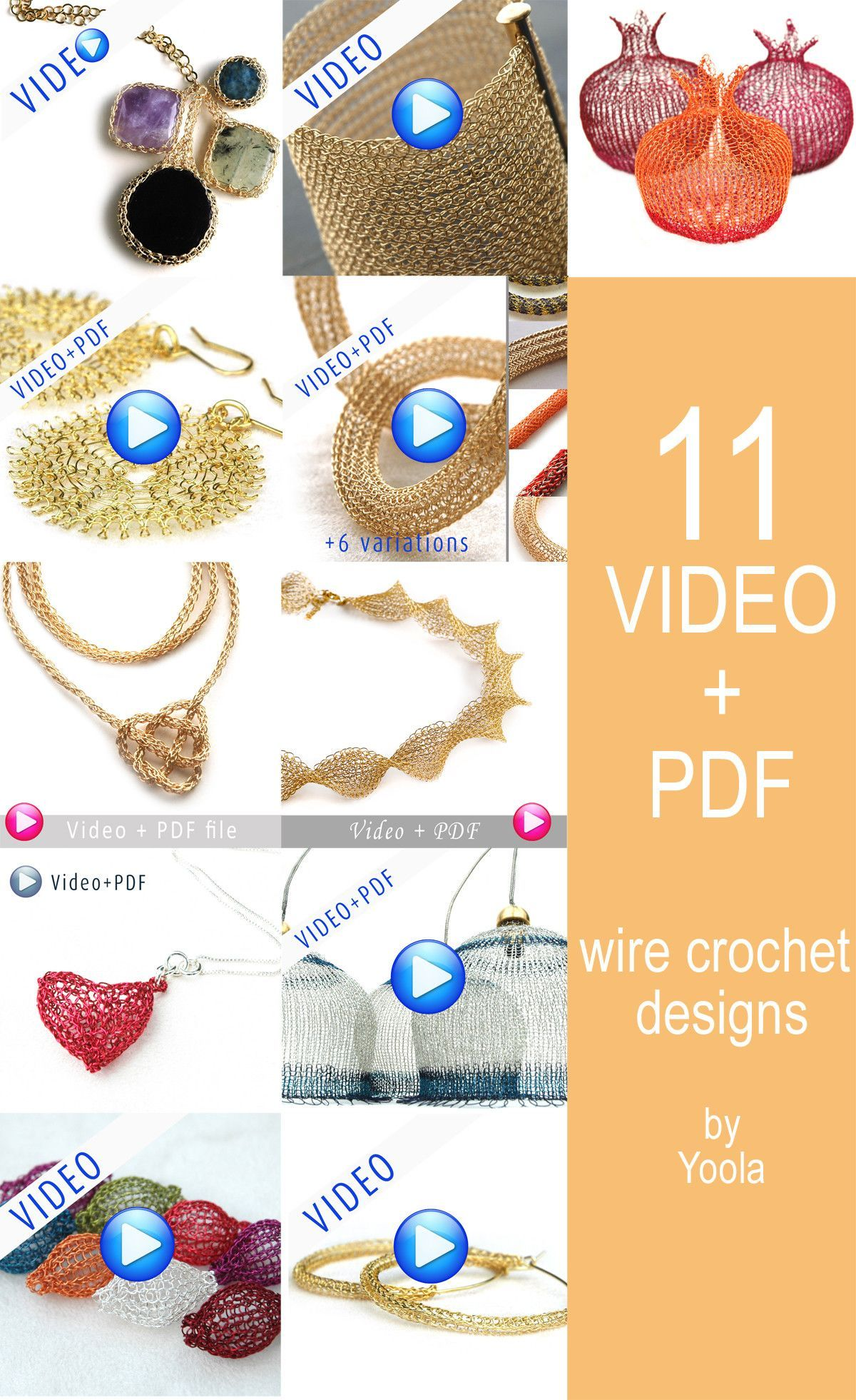 jewelry pattern yoolatube PDF pattern tutorial ebook step by step instructions Crochet pattern of a wire crochet Necklace