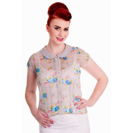 Hell Bunny BUBBLE and SWEET Vintage 50s Chiffon BLUSE Rockabilly
