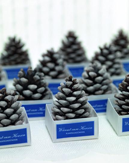 kaminanz nder aus tannenzapfen als gastgeschenk fire lighter fir cones wedding favor www. Black Bedroom Furniture Sets. Home Design Ideas