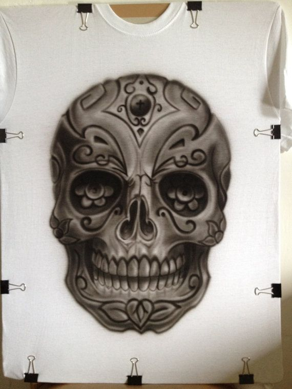 Custom Airbrushed T-Shirt Day of the Dead, Dia de los Muertos skull