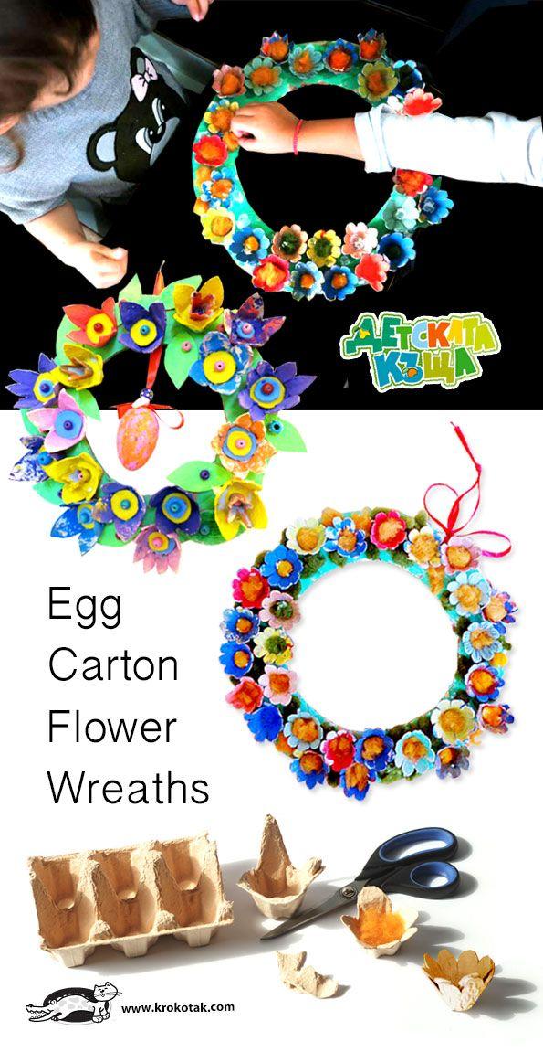 Egg Carton Flower Wreaths craft