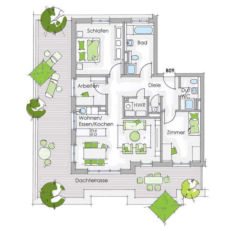 Grundriss 4ZimmerWohnung mit Dachterrasse in der