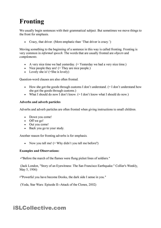 Sentence Structure Fronting 4th Grade Reading Worksheets Ginger Online Paraphrasing