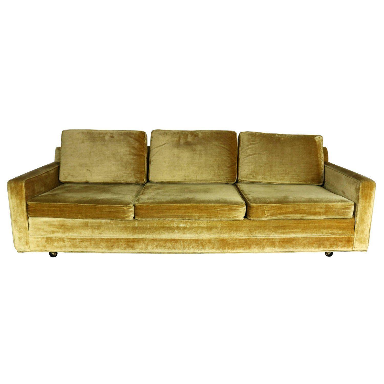 Gold Velvet Lawson Style Three Cushion Sofa Vintage Mid Century
